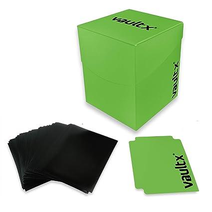 Vault X® Caja Grande de Cartas con 150 Fundas Negras - Tamaño Grande para 100+ Cartas en Fundas - Porta Tarjetas Libre de PVC para TCG (Verde)