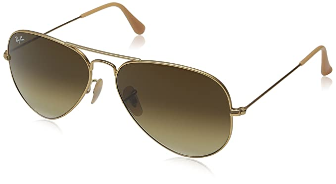 brown and gold ray ban aviators  Amazon.com: Ray-Ban Aviator Unisex Sunglasses RB3025-11285 Matte ...