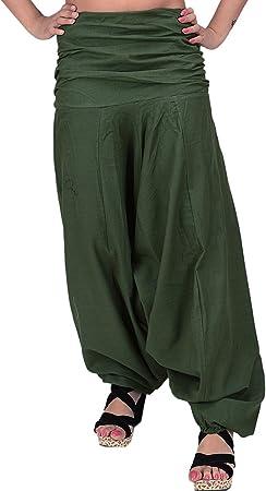 Indian Cottage Crafts - Pantalones de Algodón para Mujer, Diseño Indio con Texto en Inglés Aladdin Maroon Trous, Mujer, Verde, Approx 40 Inches: Amazon.es: Deportes y aire libre