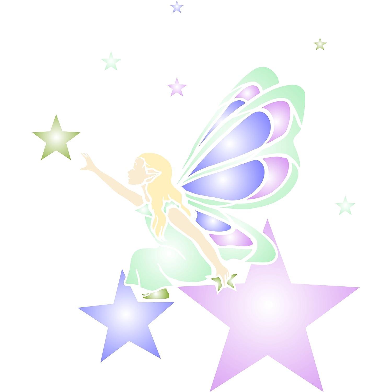 L 25.5 x 30.5cm - Reusable Fairy Elf Faerie Magic Wall Stencil Template Star Fairy Stencil