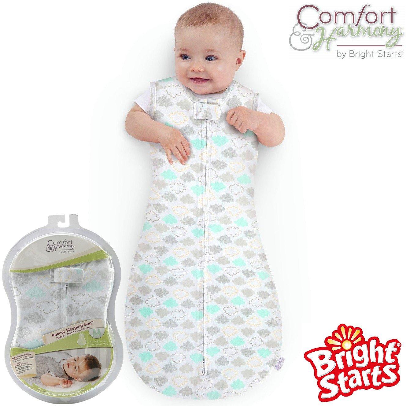 Bright Starts® Comfort & Harmony Swaddle Baby Blanket Peanut Sleeping Bag Unisex Boy Girl 100% Pure Cotton (L, White)