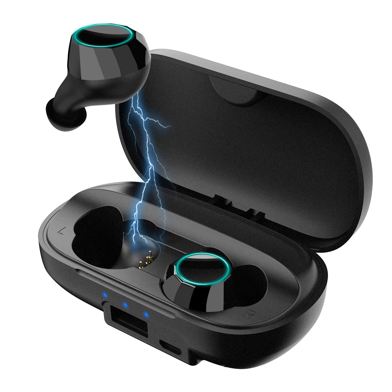EasyAcc True Wireless Earbuds, TWS Stereo Bluetooth 5.0 Earphones with Deep Bass, IPX6 Water-Proof 80H Playtime in Total Built-in Mic in-Ear Bluetooth Earphones with Charging Case