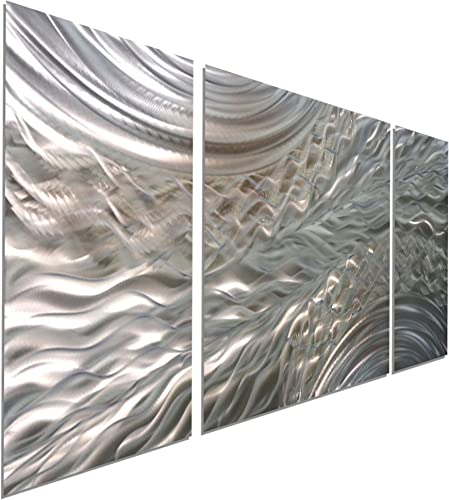 Statements2000 Abstract Etched 3D Metal Wall Hanging Panel Art Painting Sculpture by Jon Allen, Silver Gold, 50 x 24 – Positive Energy III