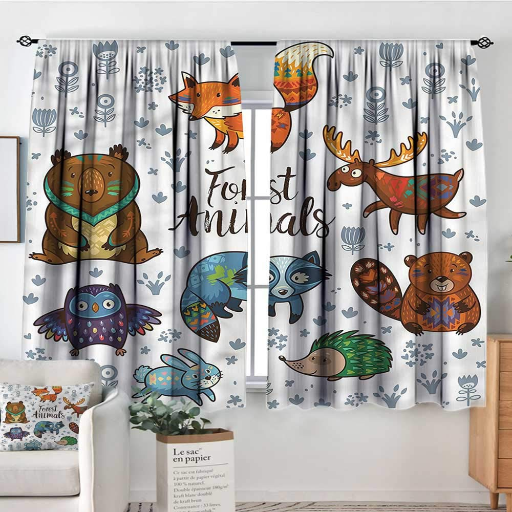 Anzhutwelve Moose,Rod Curtains Fox Deer Badger and Bunny 72''x84'' Backout Curtains for Kids Iving Room by Anzhutwelve