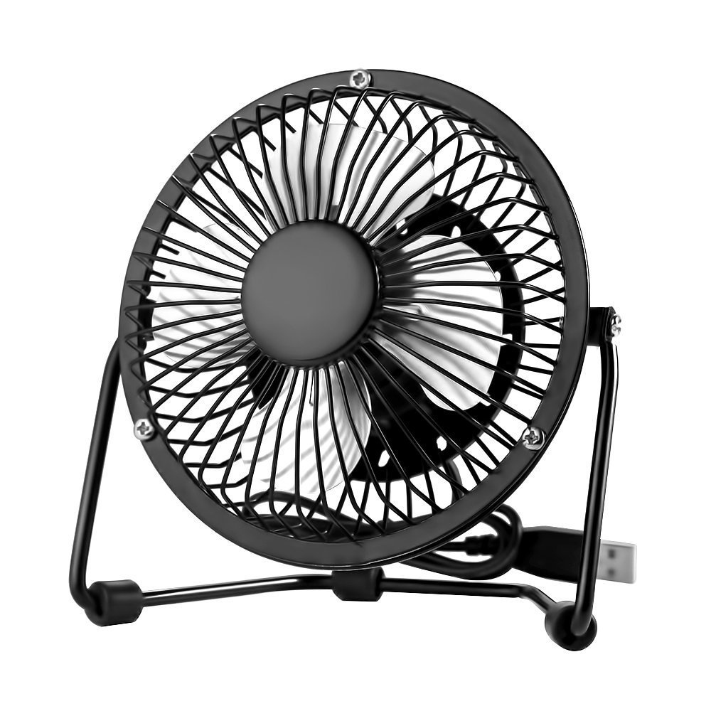 EasyAcc Mini USB 4 Inch Fan Desktop Fan Perfect for Laptop Notebook PC Desk Table Fan - Metal Black HXQUSFA-BIR