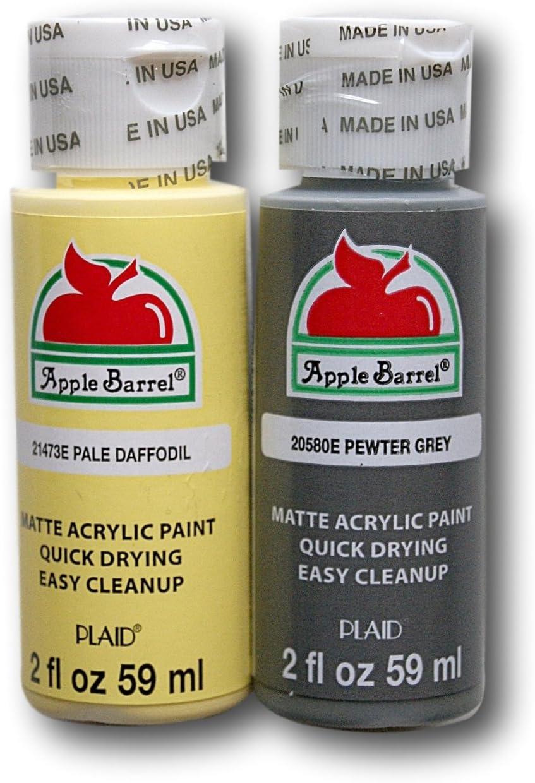 Apple Barrel Acrylic Paint Set - Pale Daffodil & Pewter Grey (2 Ounces Each)