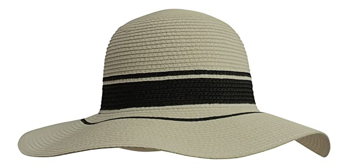 67ae7103bc64d New Retro Wide Brim Floppy Black White Raffia Summer Sun Hat Vintage Style   Boutique Brand  Amazon.co.uk  Clothing