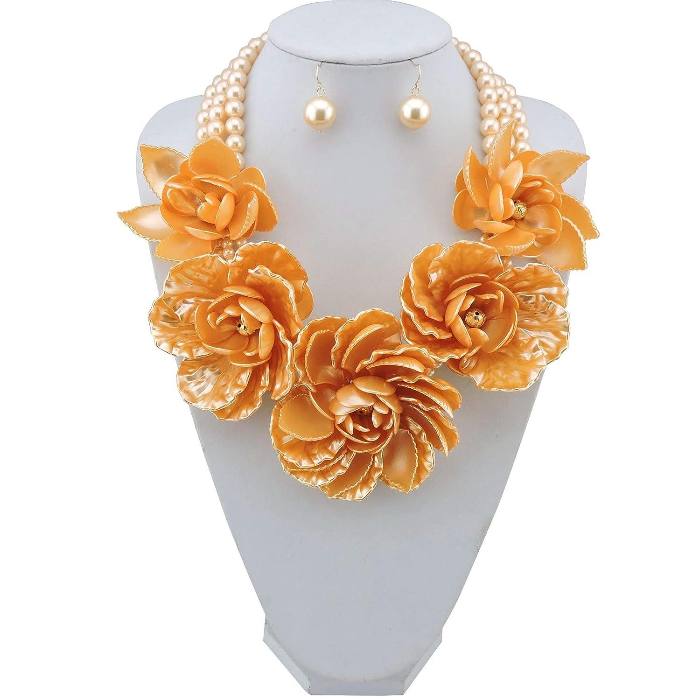 Bocar Statement Big Pendant Pearl Flower Necklace Earrings Jewelry Set for Women bocarjewelry NK-10101