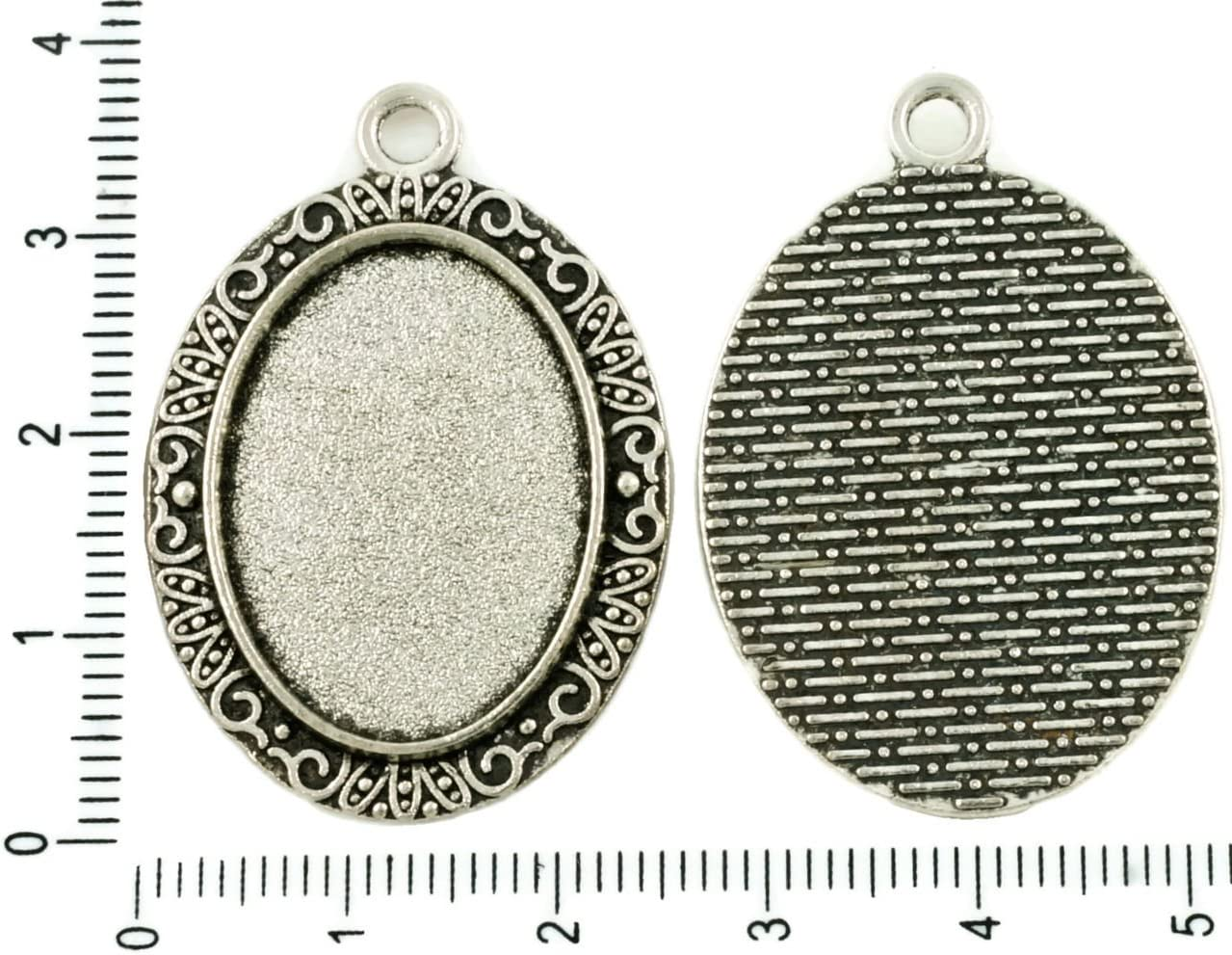 Cameo Base Pendant Blanks Round Bezel Trays BA35 Fits 18mm Cab 10 or 50 Cabochon Settings Antique Silver Tone