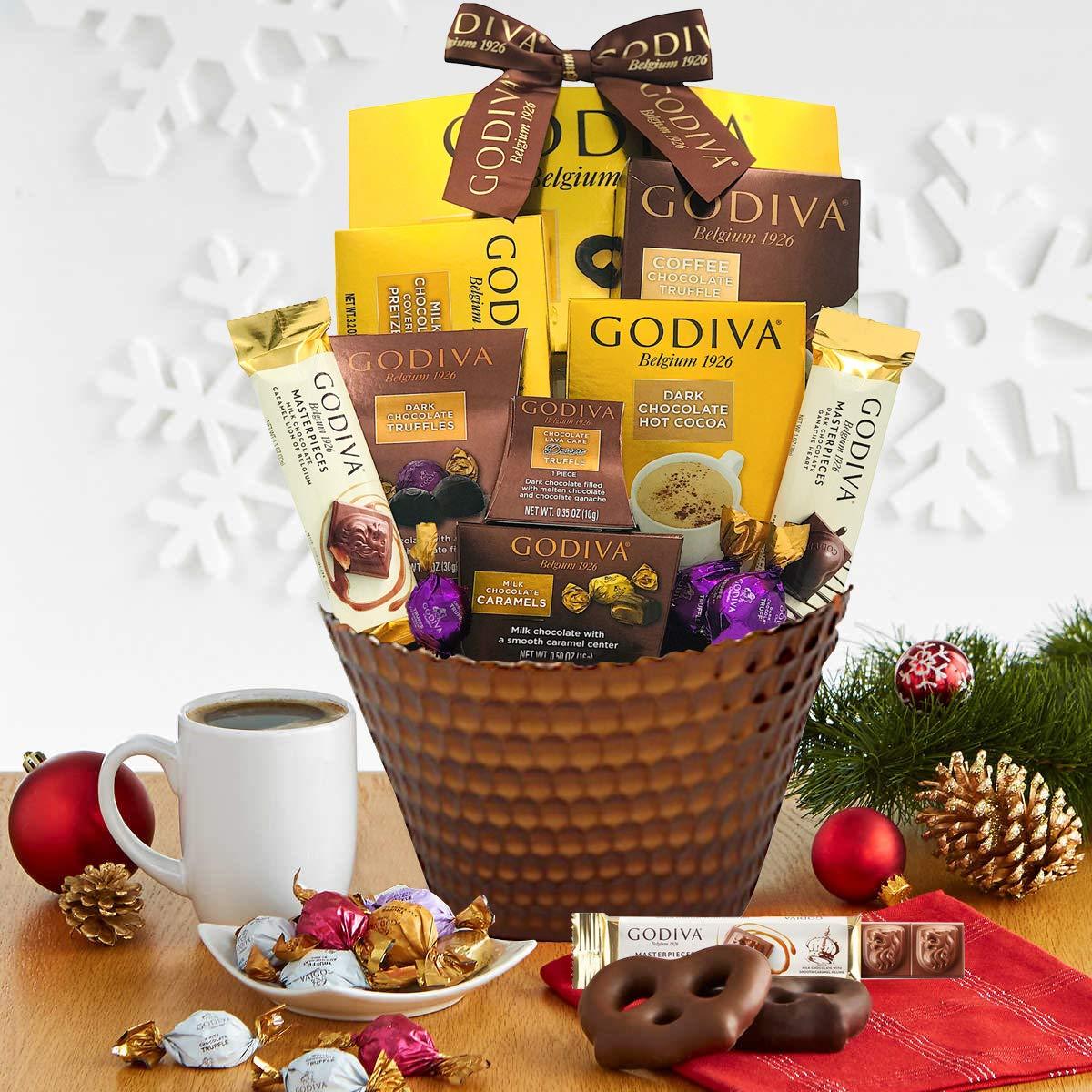 LA Signature Chocolatier Gift Basket –Chocolate Assortment For 2020 Christmas Holiday Season-Gift Box-Keepsake Glass-Gift Basket-Corporate Gift Box,Birthday, Sympathy, Get Well - LA Signature