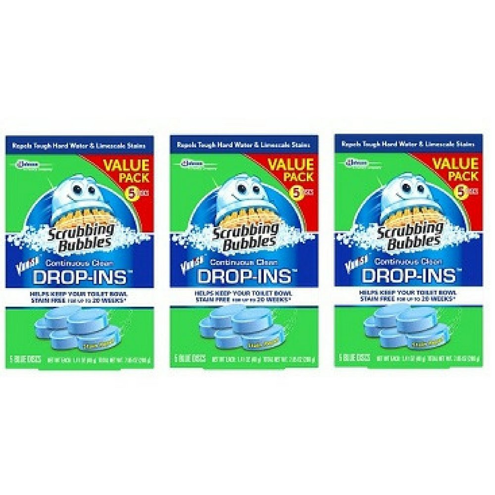 Scrubbing Bubbles Toilet Cleaner Drop Ins, 5 Count, 7.1 Ounce, (Pack of 3) by Scrubbing Bubbles