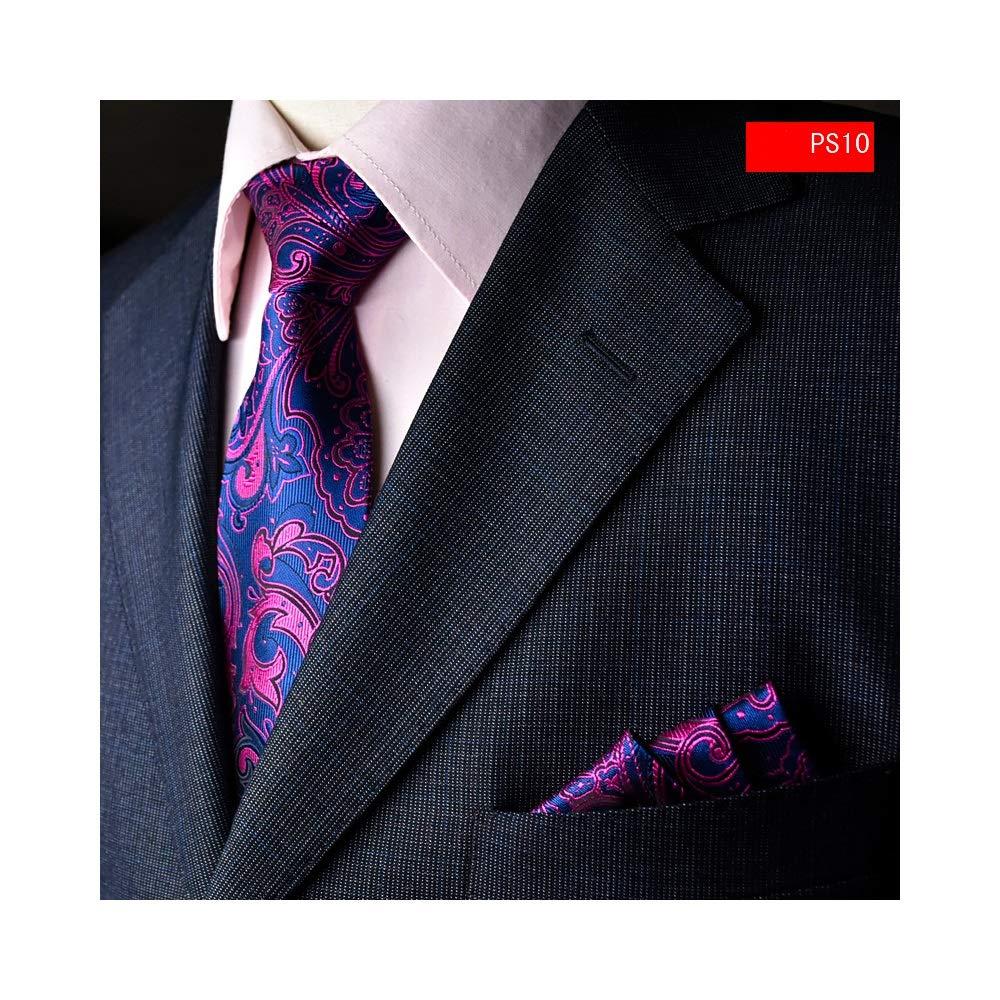 Asskanaer Juego Formal de Corbatas y Toalla de Bolsillo para Hombres con Caja de Regalo Color : PS02