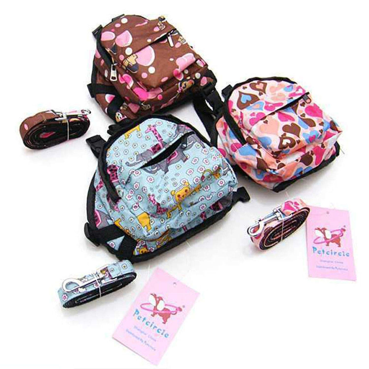 Amazon.com : Cartoon Cute Dog Backpack Canvas Multicolor Pet Dog Carrier Bags Puppy School Bag Chest Backpack Dogs Cats, Pink, S : Pet Supplies