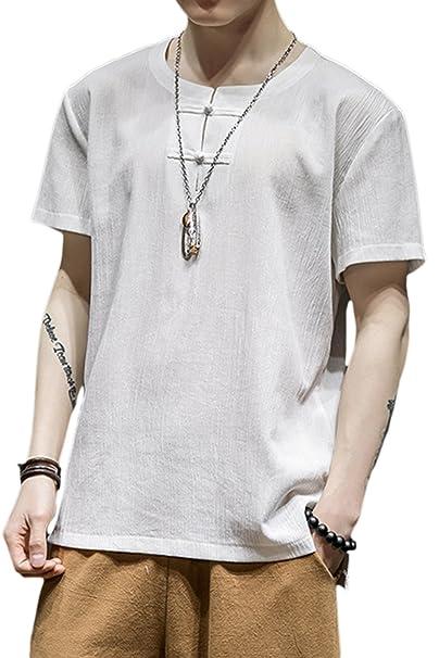 Vepodrau Hombres Camisetas Vintage De Algodon Manga Corta Boton Camisa De Lino De Sapo Blanco S