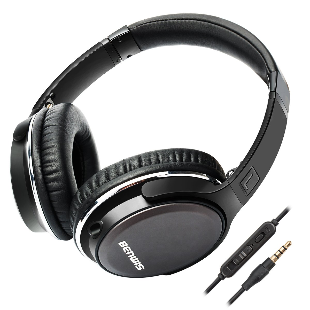 BENWIS Over Ear Headphones with Microphones Lightweight Foldable Hi-Fi Stereo and Noise Cancelling Wired Headsets for Computer Cell Phones MP3, Black