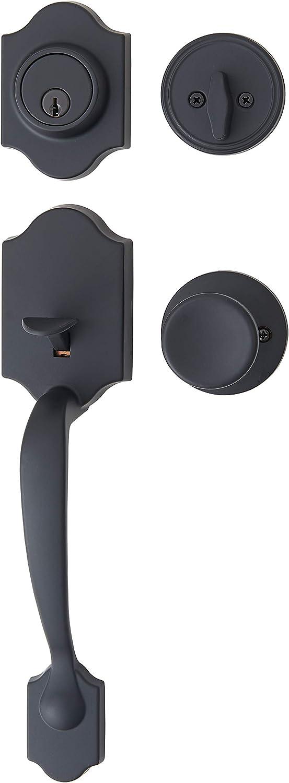 AmazonBasics Handleset with Tulip Knob - Single Cylinder - Matte Black