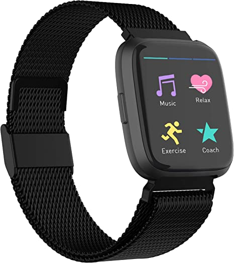 Replacement for Stainless Steel Mesh Fitbit Versa Lite Bands Metal Strap with Strong Magnet Lock Wristbands for Women Men 2 Packs POY Compatible for Fitbit Versa Bands