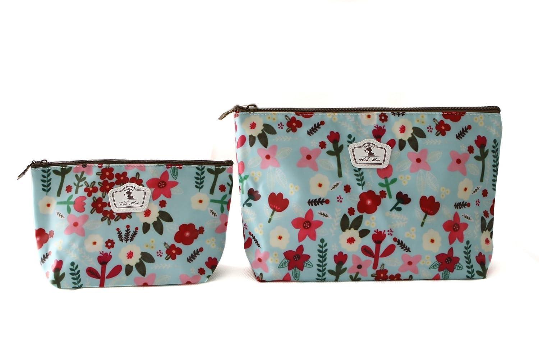 2 x Federmäppchen oder Schminkbeutel , Hartgewebe, stabil, langlebig und wasserdicht - 2 verschiedenen Größen – Blumenmuster (Blumen)