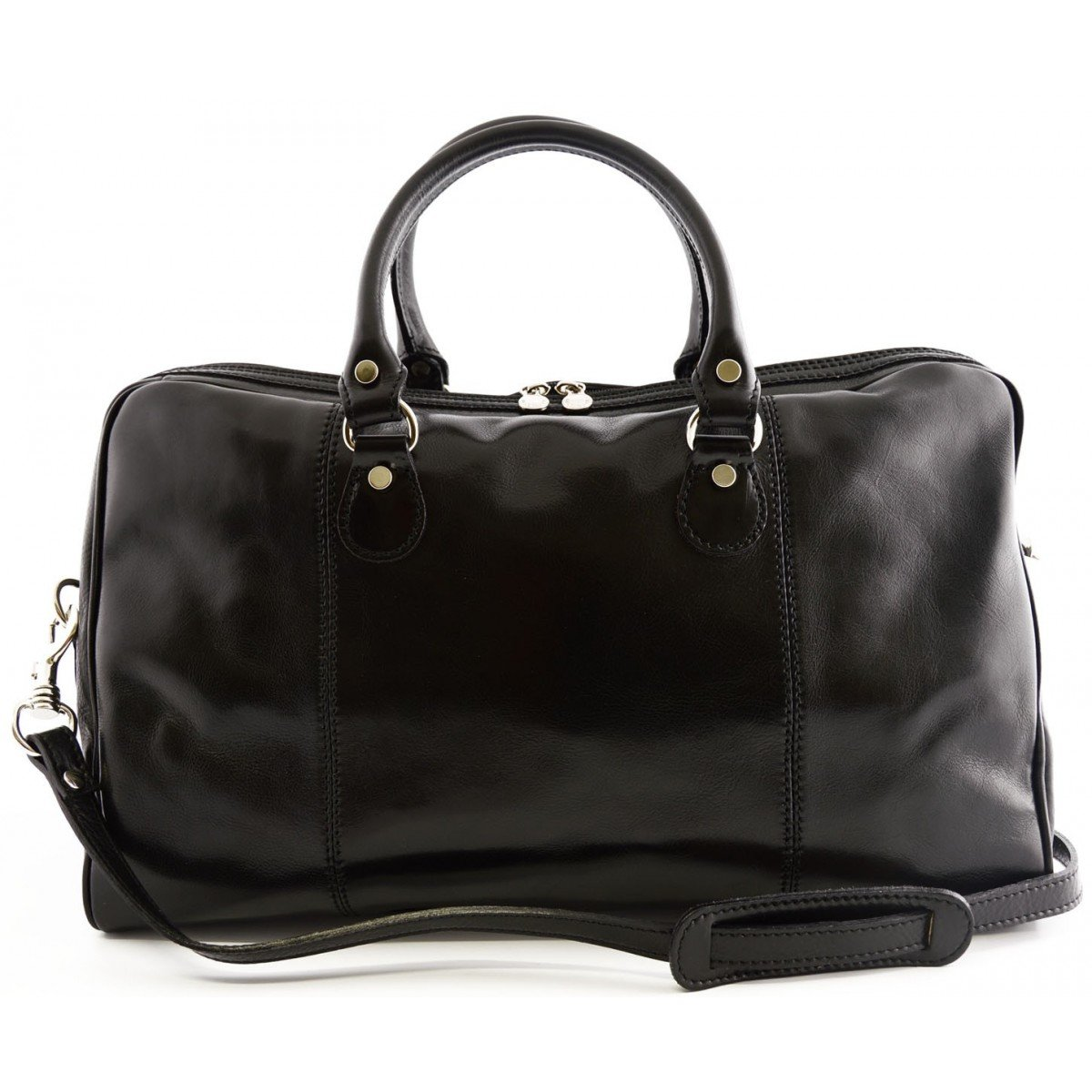 Made In Italy Genuine Leather Travel Bag With 2 Compartments And Strap Color Black - Travel Bag B017ECAC7W