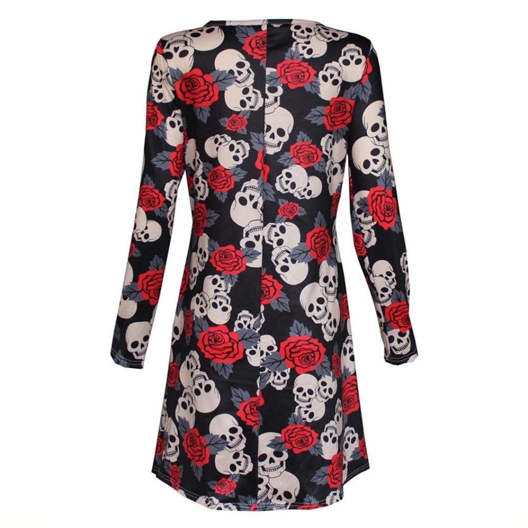 Han Shi Swing Dresses, Fashion Women Halloween Flower Skull Print Long Sleeve Party Skirt at Amazon Womens Clothing store: