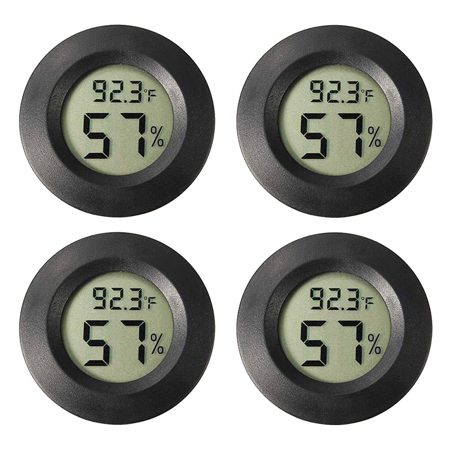 Rojuna 4-Pack Mini Hygrometer Thermometer, ℃/℉ Meter Digital LCD Monitor Indoor Room Handful Humidity Temperature Gauge for Humidors Home Humidifiers Car Greenhouse, Measure in Fahrenheit/Celsius by Rojuna