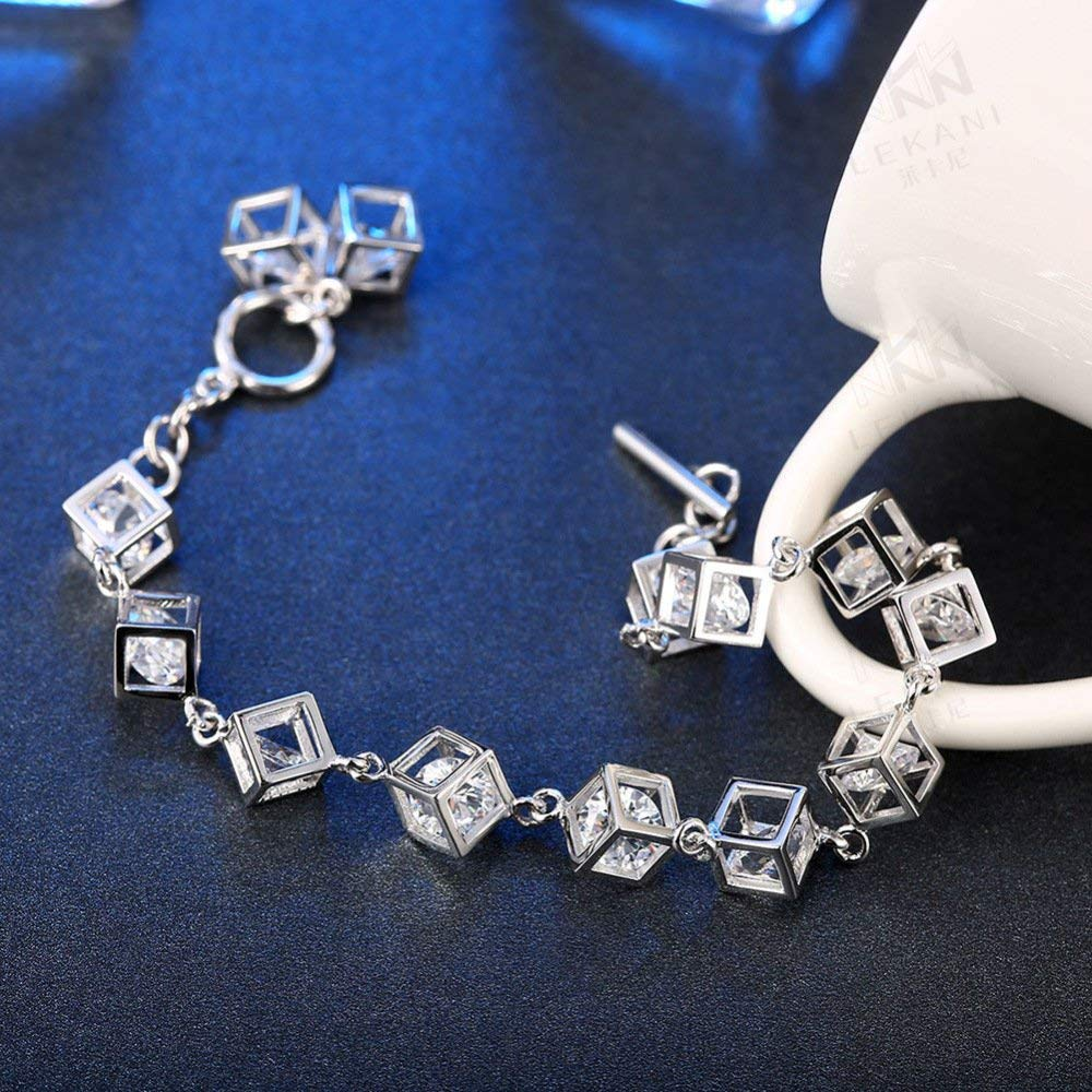 Fashion Bracklet Ladies Jewelry Bijoux s925 bijoux en argent sterling de mode féminine zircon couple carré bracelet