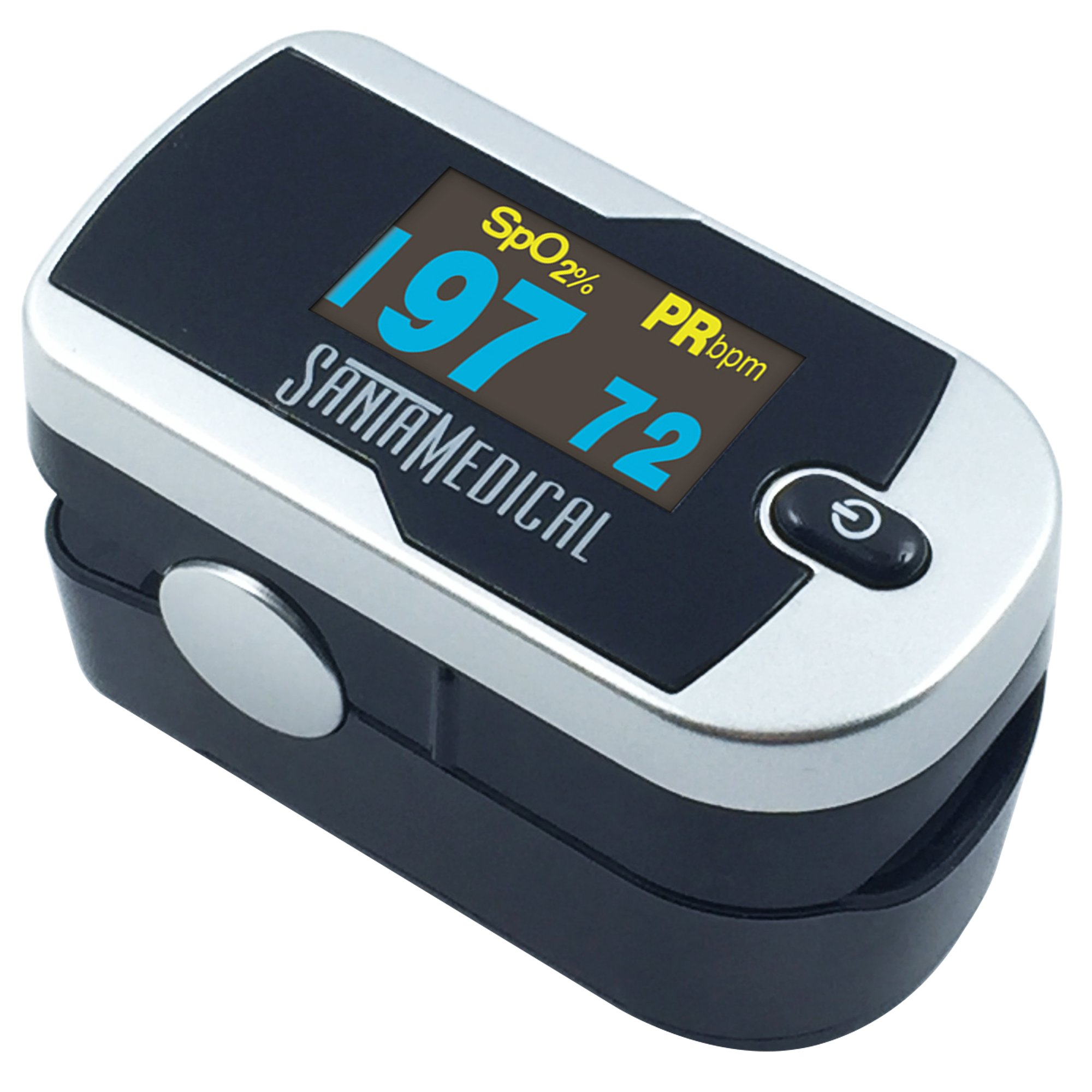 Santamedical Generation 2 OLED Fingertip Pulse Oximeter Oximetry Blood Oxygen Saturation Monitor with batteries and lanyard - Silver