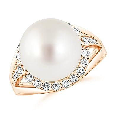 Angara South Sea Cultured Pearl Split Shank Ring with Diamonds IvIZoV