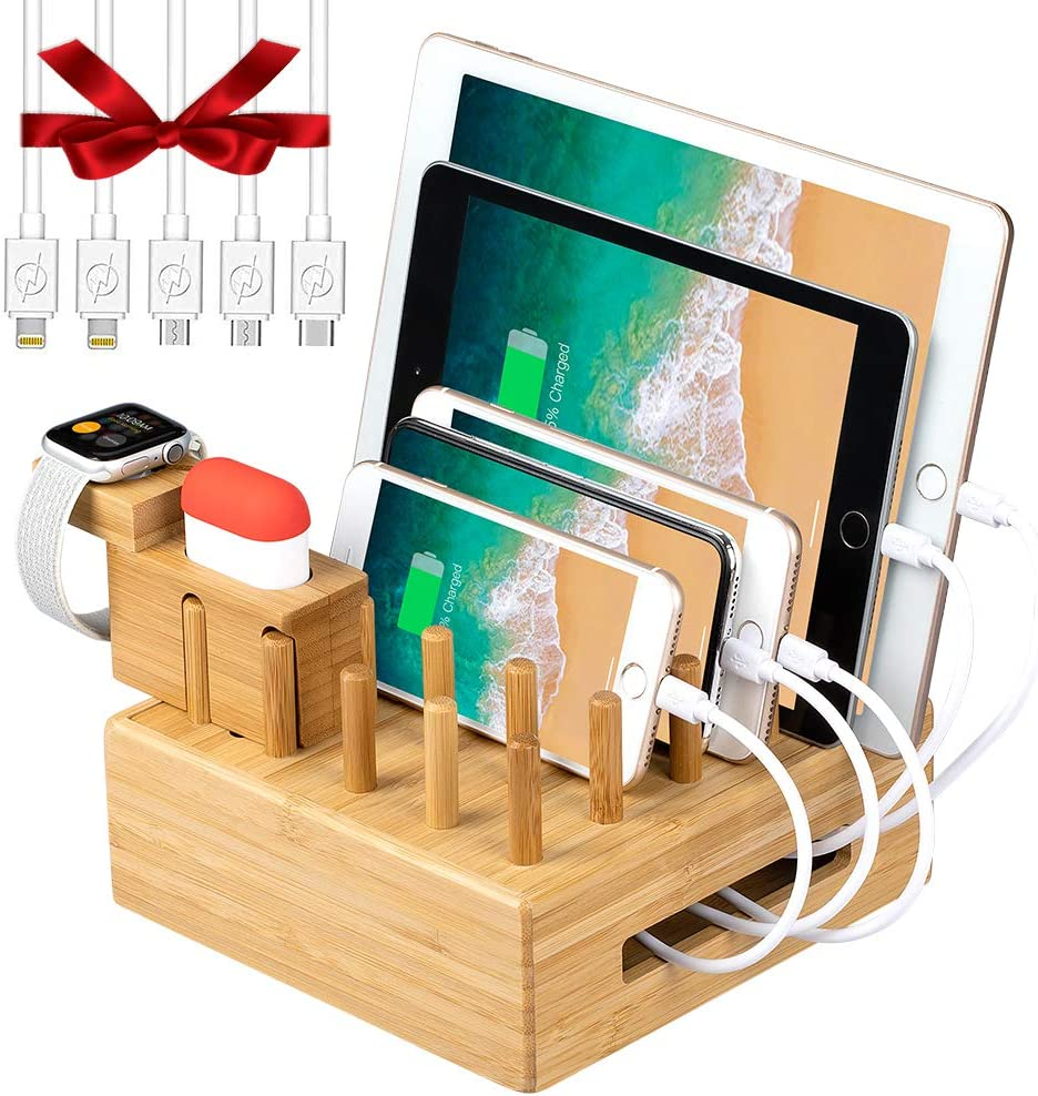 Bamboo Charging Station Organizer for Multiple Devices | Desktop Docking Station Organizer with Integrated Airpod&iWatch Charging Stand for airpod, iWatch, Tablet(5 Charging Cables, No USB Charger)