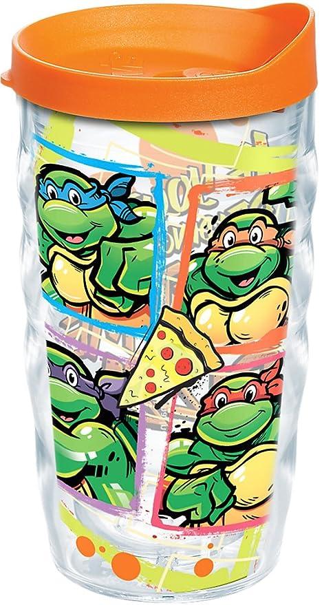 Tervis 1216493 Nickelodeon - Teenage Mutant Ninja Turtles Get Me Pizza Tumbler with Wrap and Orange Lid 10oz Wavy, Clear
