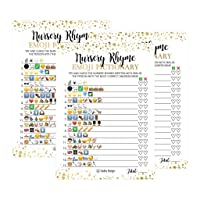 25 Emoji Nursery Rhyme Baby Shower Game Party Ideas For Pictionary Quiz, Boys Girls Kids Men Women and Couples, Cute Classic Bundle Pack Set Gold Pink Blue Gender Neutral Unisex Fun Coed Guessing Card