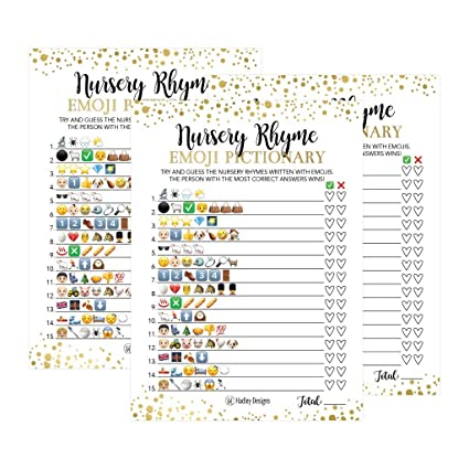 amazon com 25 emoji nursery rhyme baby shower game party ideas for