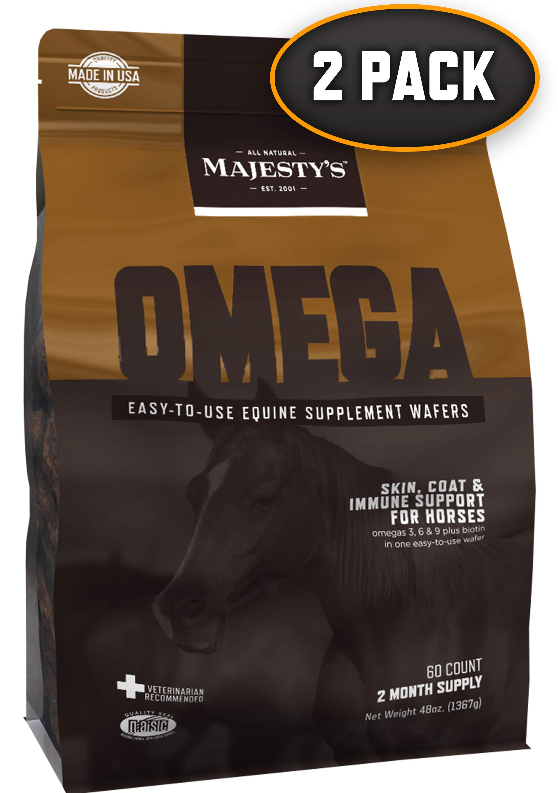 Majesty's Omega Wafers - Horse/Equine Skin, Coat, Immune Support Supplement - Omega 3, 6, 9, Biotin - Reduces Inflammation & Skin Allergy, Improves Immune System - 4 Month Supply (2 Bags/120 Count) by Majesty's