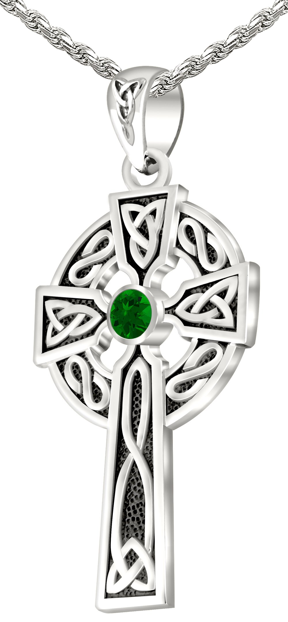 Men's 0.925 Sterling Silver Simulated Emerald 1.5'' Irish Celtic Knot Cross Pendant 3.3mm Rope Necklace, 24''