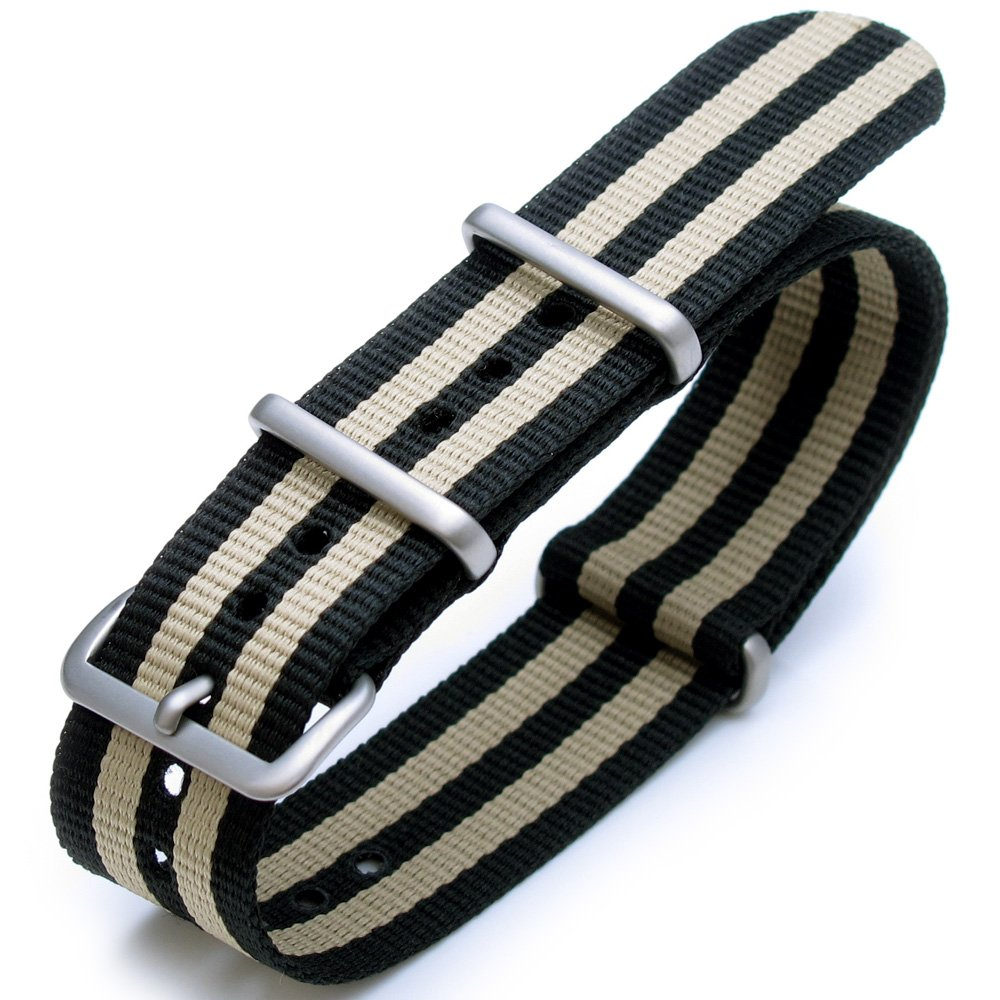 24mm G10 Nato James Bond Nylon Watch Strap Brushed Buckle - J02 Double Black & Khaki