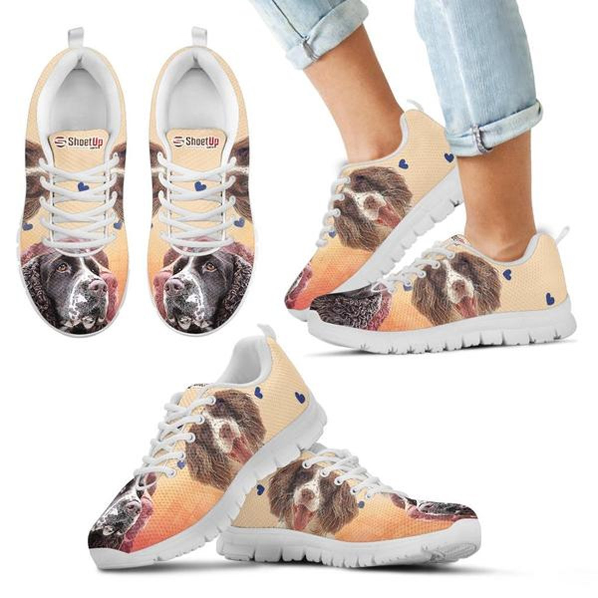 E/&E Solutions Kids Running Shoes Engliss Springer Dog Casual Sneakers for Kids