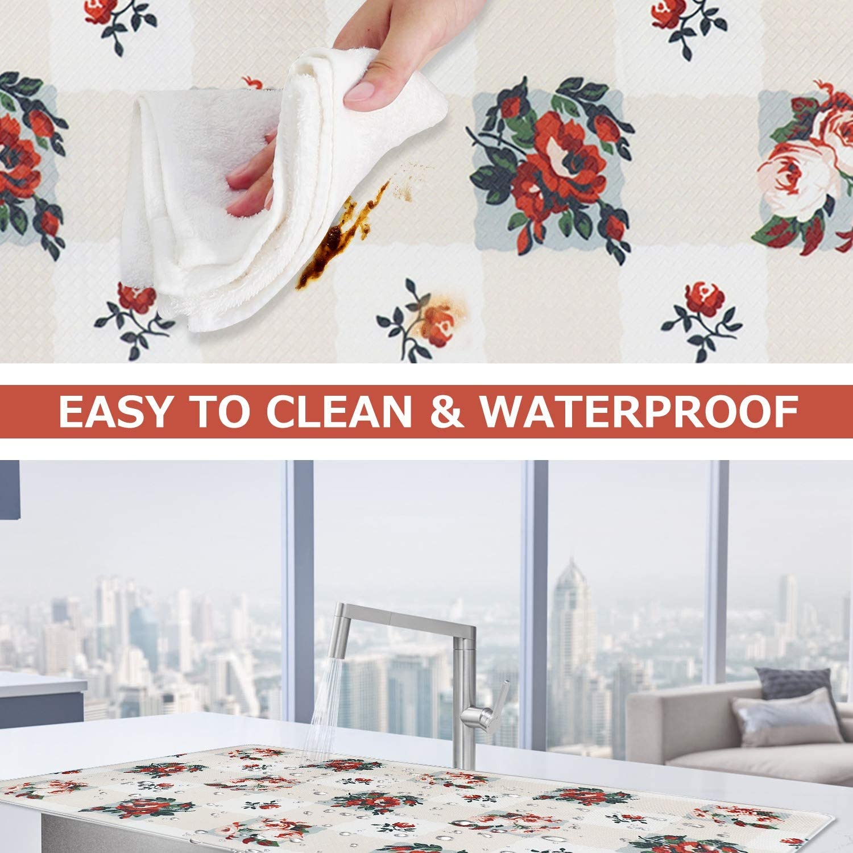 Flower Blossom Waterproof and Oil Resistant Kitchen Mats for Bathroom Living Room Office Door Decor Anti-Fatigue Comfort Floor Mats with Non Skid Rubber Backing Kitchen Floor Mat 17/×30