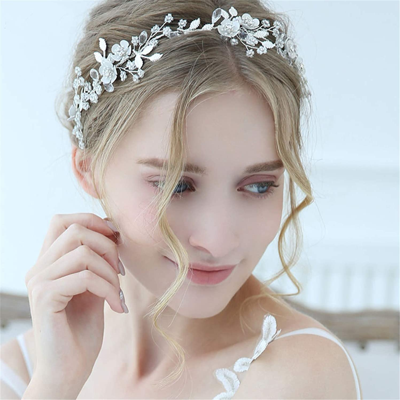 Brautschmuck Haarschmuck Romantische Handarbeit Kristall Reis Perlen Braut Haarband Silber