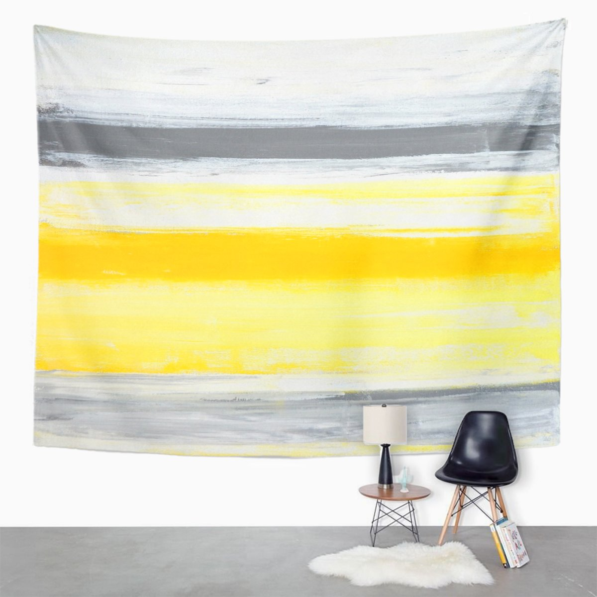 Tompop Tapestry Gray Blocks Grey And Yellow Abstract Painting Canvas Contemporary Home Decor Wall Hanging For Living Room Bedroom Dorm 50x60 Inches
