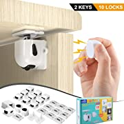 BigRoof CA-012 Newest Version Heavy Duty Drawer Drill Child Proof Latch Baby Safety Locks for Cabinet, 10 Pack