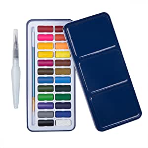 MEEDEN 24 Colours Travel Watercolour Tin & Watercolour Pen & Paintbrush Lightweight and Portable for Students Beginners Artist Adult