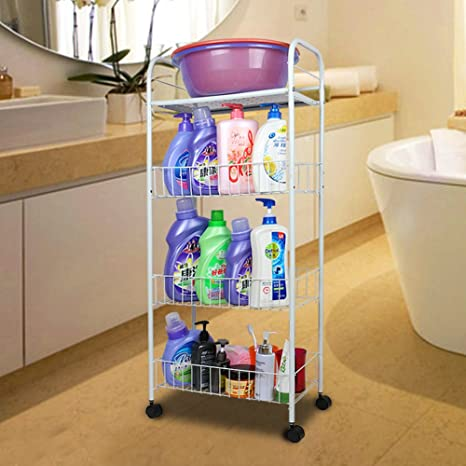 Estantes de baño/ viviendo la estantería de la sala/Piso carro lavabo-B