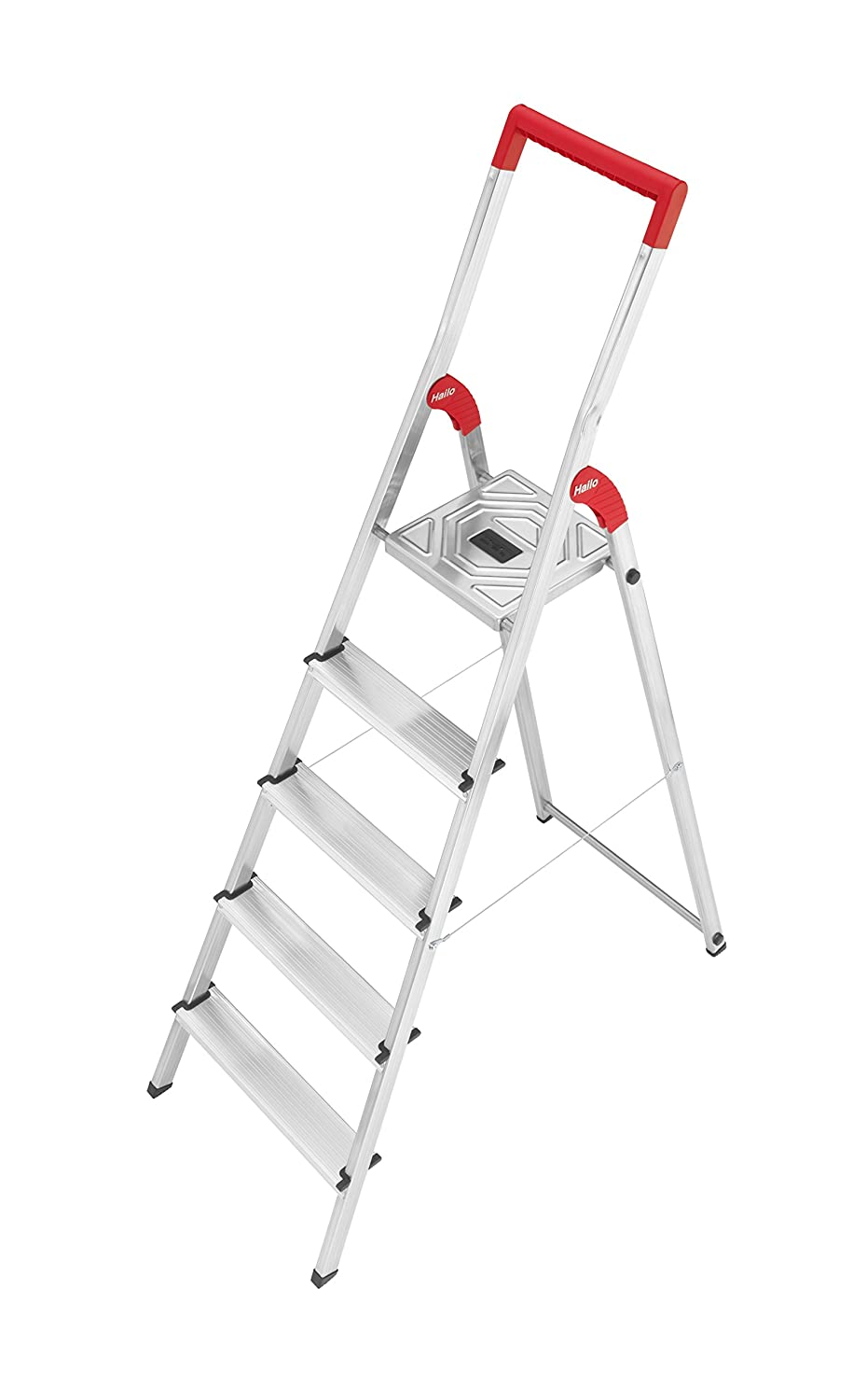 Hailo 8150-507 L50 safety ladder, 5 steps, safety rail with integrated bucket hook,  hinge protection, made in Germany 8150507