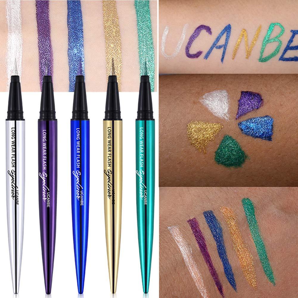 UCANBE 5PCS Liquid Eyeliner Pen Waterproof Eye Gel Shimmer Sparkle Smudge Proof Pigmented Eyeshadow Eye Liner Pencil Cosmetics (Set of 5) by Prism Makeup