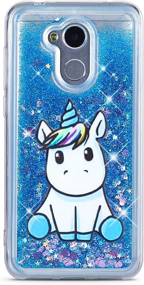 MoEvn Cover Huawei Honor 6A Custodia, Unicorno 3D Glitter Liquido Trasparente Sabbie Mobili Morbida TPU Silicone Bling Quicksand Antiurto Protezione ...