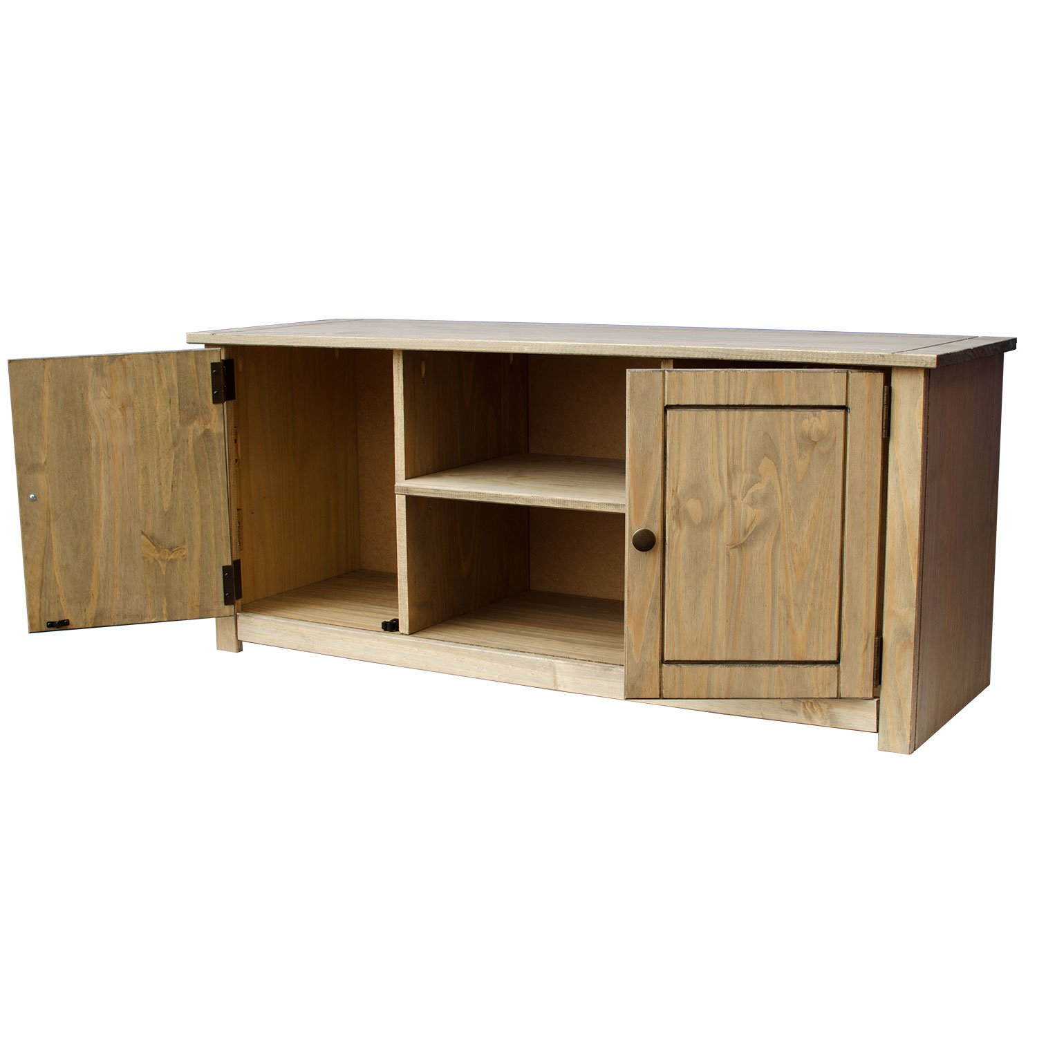 Solid pine television unit cabinet stand wood media for Tv and media storage units