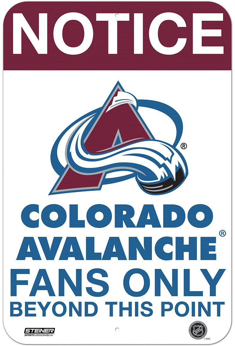 Colorado Avalanche Fans Only 8x12 Aluminum Sign Steiner Sports