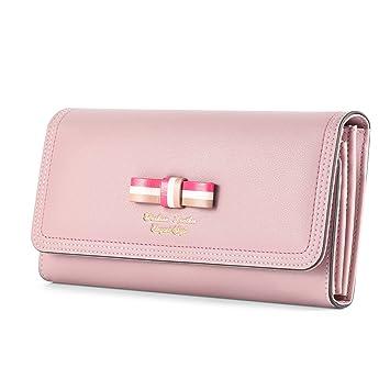 75dd8c9d68c63 Kattee Damen Leder langer Geldbeutel Fashion Schleife Portemonnaie  Brieftasche(Rosa)