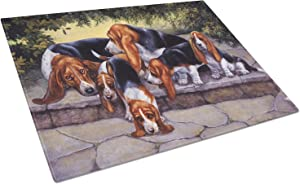 Caroline's Treasures BDBA0276LCB Basset Hound Puppies, Momma and Daddy Glass Cutting Board Large, 12H x 16W, multicolor
