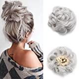 Scrunchy Scrunchie Hair Extensions Wavy Curly Messy Hair Bun Updo Chignons Hairpiece Ribbon Ponytail Bridal Drawstring - Silver Grey